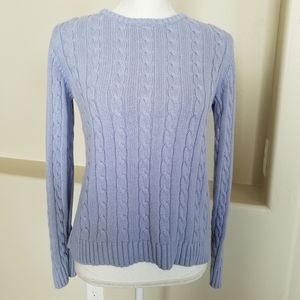 Eddie Bauer Cable Knit Crew Sweater Periwinkle